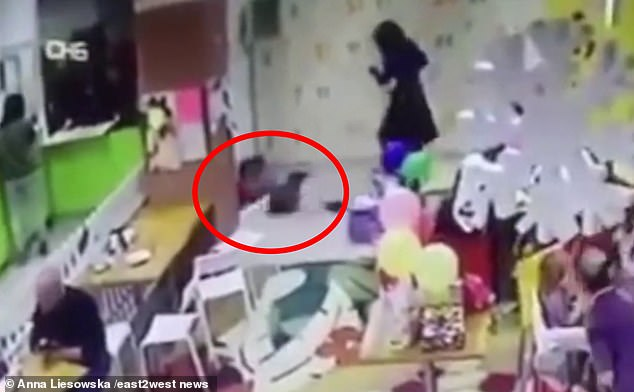 CCTV footage from a mall in Ukraine shows 31-year-old